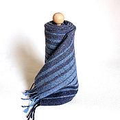 """Аксессуары ручной работы. Ярмарка Мастеров - ручная работа Тканый твидовый шарф """"Тройной синий"""" Тканый шарфТкачество. Handmade."""