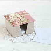 Канцелярские товары ручной работы. Ярмарка Мастеров - ручная работа Подставка для бумаги для записей. Картонаж. Розы. Handmade.