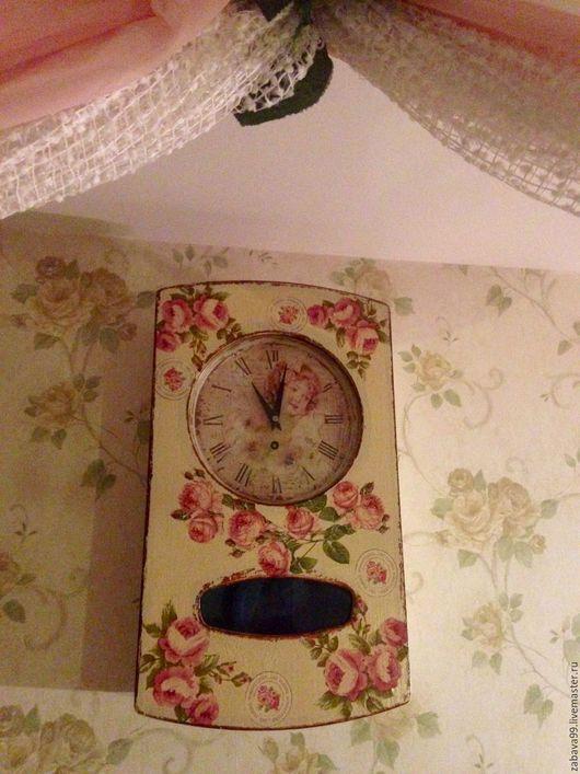 """Часы для дома ручной работы. Ярмарка Мастеров - ручная работа. Купить Часы """"Розы времени"""". Handmade. Кремовый, лак"""