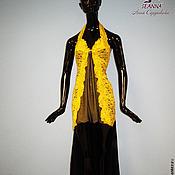 """Одежда ручной работы. Ярмарка Мастеров - ручная работа Платье """"Эффект желтого"""" из кружева, сетки и шифона. Handmade."""