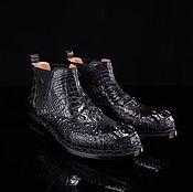 Ботинки ручной работы. Ярмарка Мастеров - ручная работа Полуботинки из кожи аллигатора, LUX класса, в чёрном цвете. Handmade.
