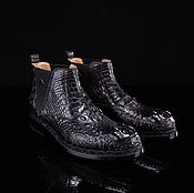 Boots handmade. Livemaster - original item Alligator leather ankle boots, LUX class, in black. Handmade.
