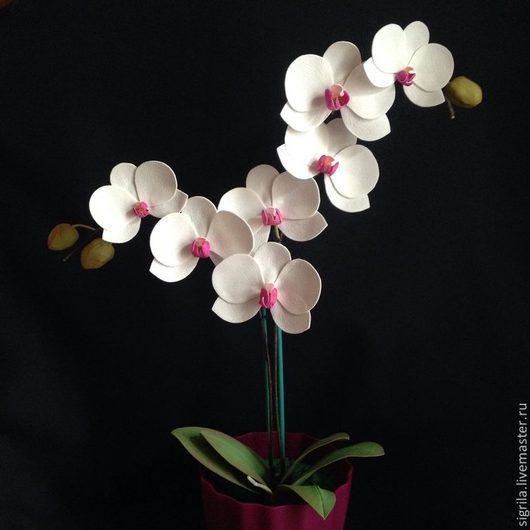 Интерьерные композиции ручной работы. Ярмарка Мастеров - ручная работа. Купить Орхидея фаленопсис в горшке. Handmade. Фуксия, цветы, на стол