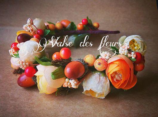 Диадемы, обручи ручной работы. Ярмарка Мастеров - ручная работа. Купить Осенний ободок. Handmade. Ободок с цветами, ободок для девочки