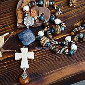 handmade. Livemaster - original item Boho-chic necklace with cross pendant
