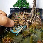 """Модели ручной работы. Ярмарка Мастеров - ручная работа Ночник, миниатюра, румбокс """"На рыбалке"""". Handmade."""