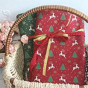 Материалы для творчества ручной работы. Ярмарка Мастеров - ручная работа Новогодняя  ткань олени. Handmade.