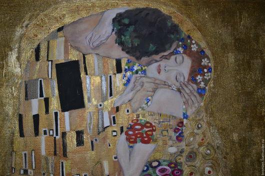 картина для интерьера, картина купить. Гюстав Климт копия картины купить. Поцелуй Гюстав Климт копия картины купить.