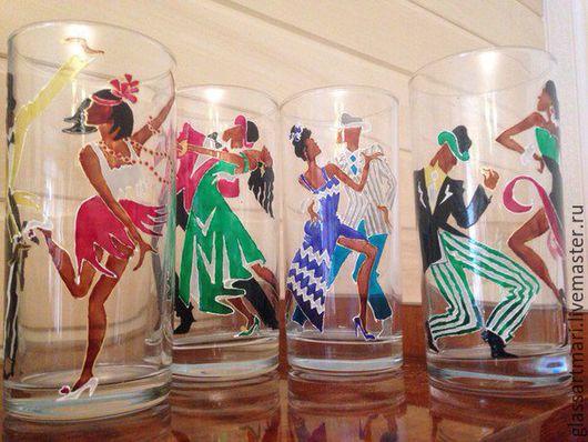 Бокалы, стаканы ручной работы. Ярмарка Мастеров - ручная работа. Купить Стаканы «Танец». Handmade. Комбинированный, гласс дизайн, контур