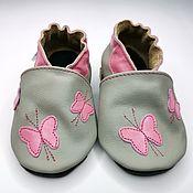 Работы для детей, handmade. Livemaster - original item First Shoes, Pink Butterfly, Gray Shoes,Ebooba. Handmade.