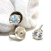 Украшения handmade. Livemaster - original item Silver 925 stud earrings with moonstone, Labrador. Handmade.