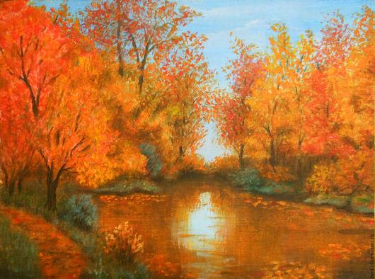 Пейзаж ручной работы. Ярмарка Мастеров - ручная работа. Купить Осень. Открытка маслом.. Handmade. Рыжий, открытка, осень