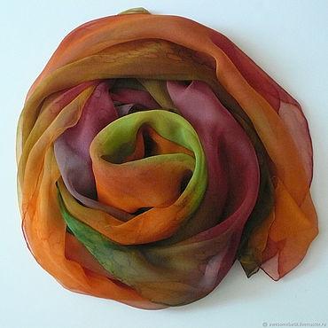 Аксессуары ручной работы. Ярмарка Мастеров - ручная работа Большой шелковый шарф Осеннее настроение. Handmade.