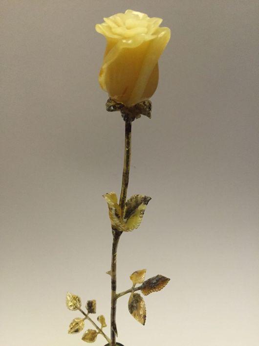 Статуэтки ручной работы. Ярмарка Мастеров - ручная работа. Купить Янтарная роза. Handmade. Янтарь, бизнес подарок, свадебный подарок
