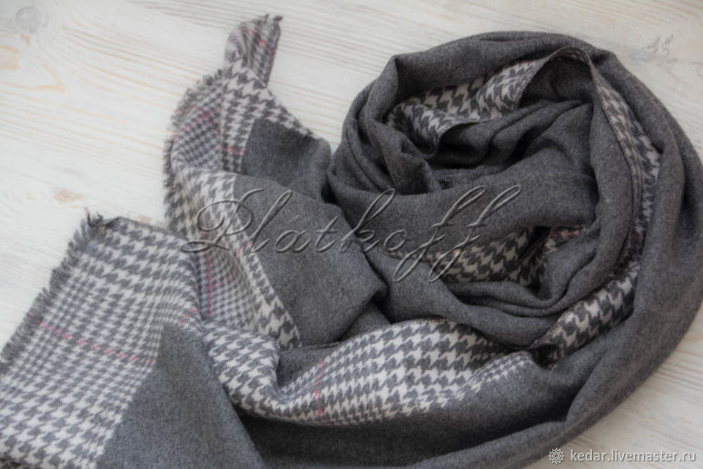 Серый  женский палантин  из ткани Barcelo Biagi, Палантины, Москва,  Фото №1