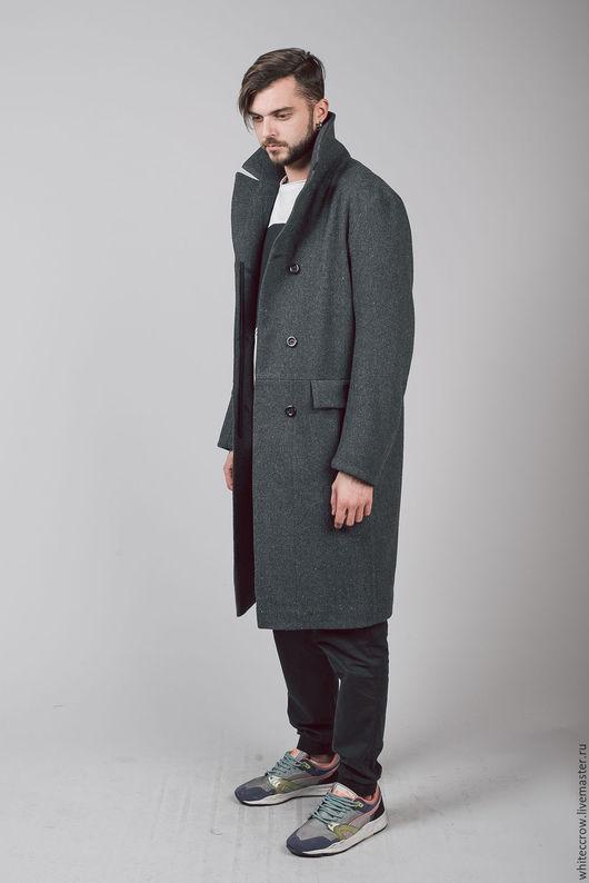 Верхняя одежда ручной работы. Ярмарка Мастеров - ручная работа. Купить Пальто однобортное Unisex. Handmade. Темно-серый, твид