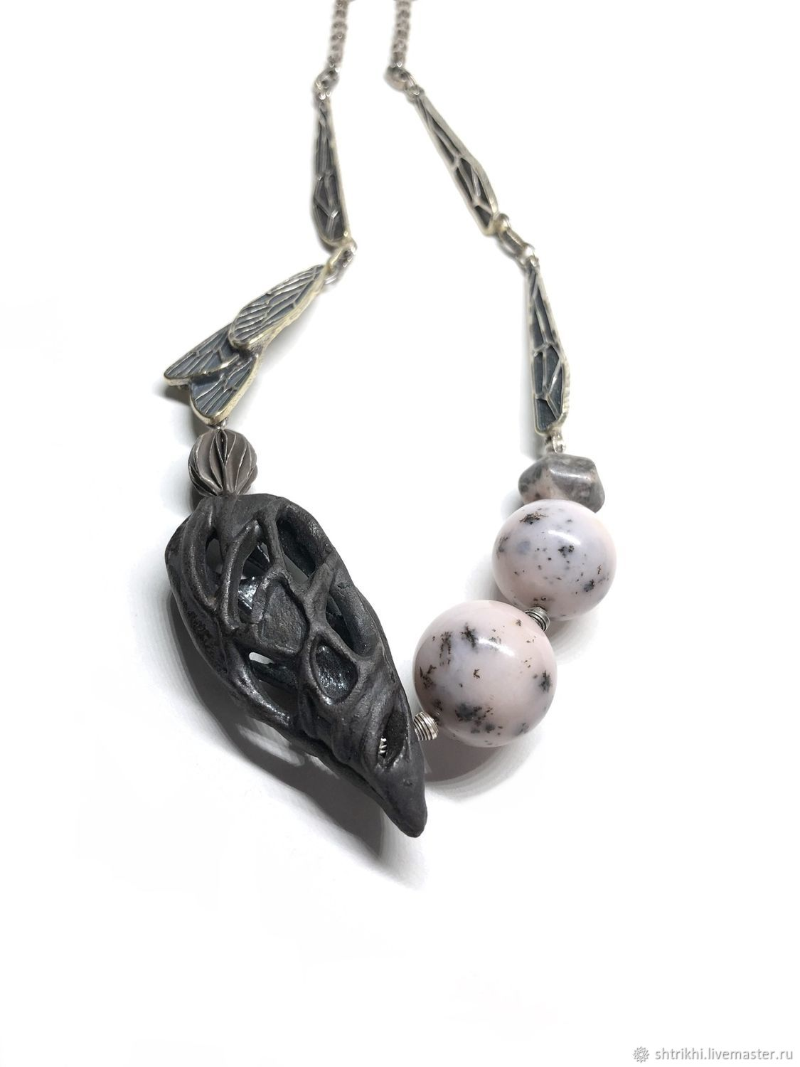 Necklace Flights. Porcelain, pink opal, silver Kareno, annabronze,, Necklace, Moscow,  Фото №1