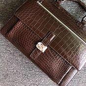 Сумки и аксессуары handmade. Livemaster - original item Men`s briefcase, crocodile leather, brown.. Handmade.