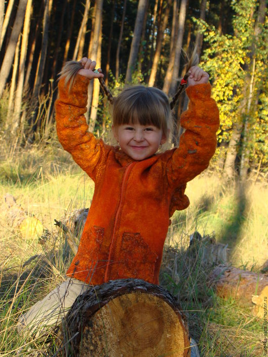 """Для подростков, ручной работы. Ярмарка Мастеров - ручная работа. Купить Авторская детская курточка """"Рыжик"""". Handmade. Комбинированный, с капюшоном"""