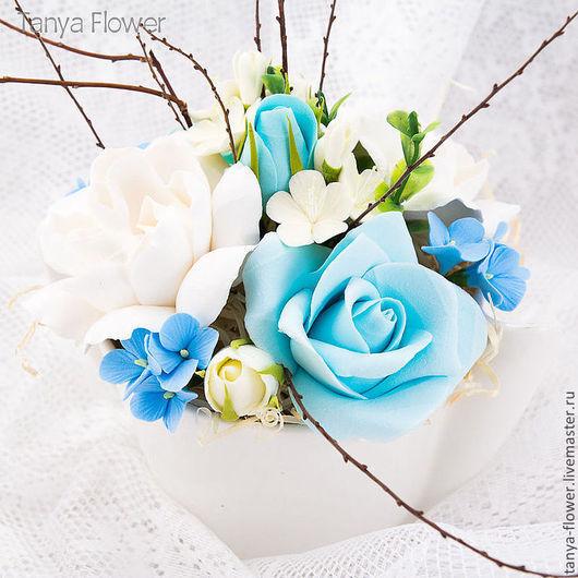"""Цветы ручной работы. Ярмарка Мастеров - ручная работа. Купить Букет """"Тиффани"""". Розы, Гардении, Гортензии, цветы Яблони.. Handmade."""