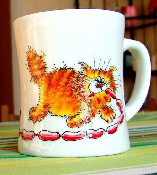 Кружки и чашки ручной работы. Ярмарка Мастеров - ручная работа. Купить Киськи и Сосиськи. Handmade. Коты, посуда, фарфор, кот