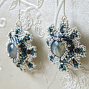 Украшения handmade. Livemaster - original item Long beaded earrings, kyanite and Swarovski Silver snowflake. Handmade.