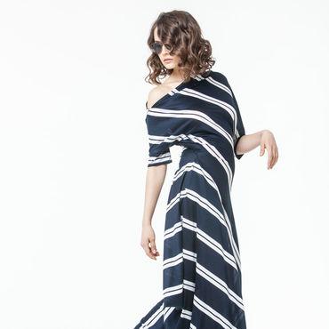 Одежда ручной работы. Ярмарка Мастеров - ручная работа АГ_004 Платье асимметричное с карманами т.синее с двойной белой полос. Handmade.