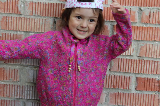 Одежда для девочек, ручной работы. Ярмарка Мастеров - ручная работа. Купить Детская кофта. Handmade. Фуксия, кофта на замке