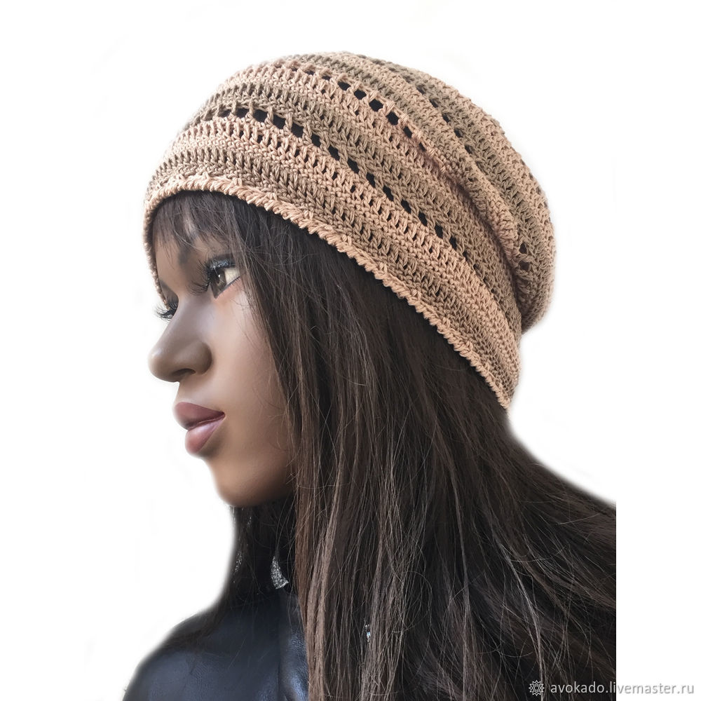 Openwork knitted cap ' Sand', Caps, Moscow,  Фото №1