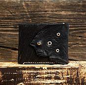 Кошельки ручной работы. Ярмарка Мастеров - ручная работа Черный кошелёк из сыромятной кожи. Handmade.