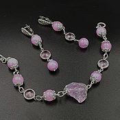 Украшения handmade. Livemaster - original item A bracelet made of beads: Pink dawn earrings bracelet set. Handmade.