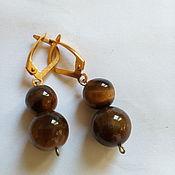 Украшения handmade. Livemaster - original item Earrings classic: TIGER`S EYE, gilt.. Handmade.
