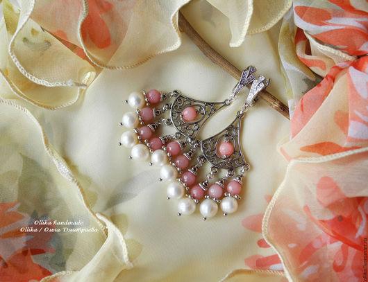 Серьги Аромат Утренней Розы, белый жемчуг, розовый кварц, серьги с подвесками Авторская бижутерия, ollika Ольга Дмитриева, ollika handmade