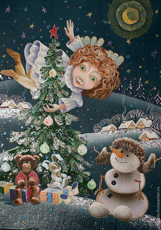 Фэнтези ручной работы. Ярмарка Мастеров - ручная работа. Купить Декабрь. Handmade. Подарок, декабрь, картина в подарок, ангелы, картон