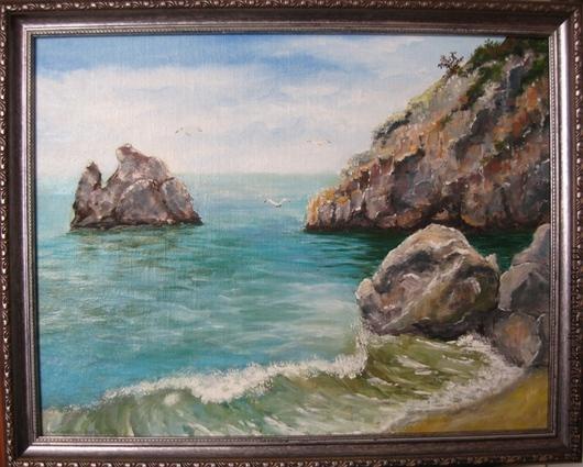 """Пейзаж ручной работы. Ярмарка Мастеров - ручная работа. Купить Картина """"Прибой"""". Handmade. Голубой, море, морской пейзаж, картина"""