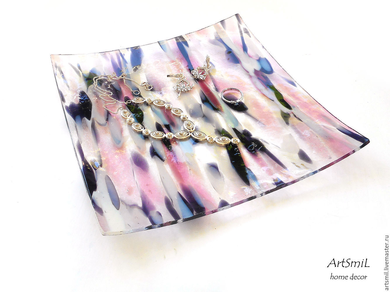 Plate Pink. Fused glass plate. Interior decor. Glass art. Dish. Plate, Plates, Moscow,  Фото №1
