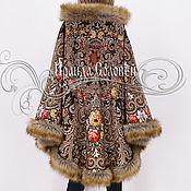 """Одежда ручной работы. Ярмарка Мастеров - ручная работа Пальто-пончо с отстёгивающимся капюшоном """"Тайна сердца-7"""" из платков. Handmade."""