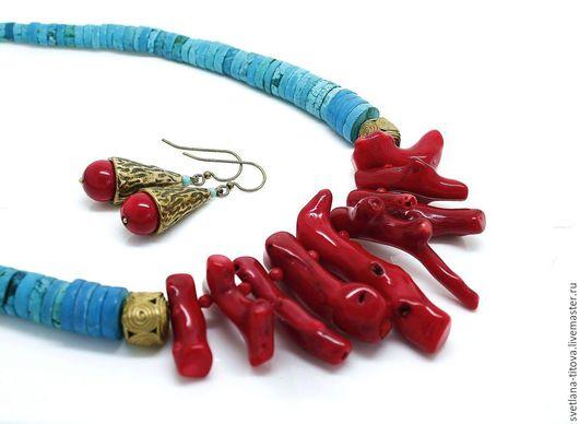 Комплекты украшений ручной работы. Ярмарка Мастеров - ручная работа. Купить Колье + серьги из бирюзы и коралла. Handmade.
