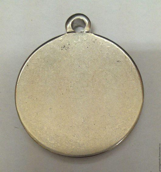 Кулон заготовка, Мельхиор, 24х2 мм, чеканка, цвет стальной-серебренный. Для украшений ручной работы.