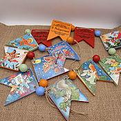 Сувениры и подарки handmade. Livemaster - original item Garland: Christmas garland Old postcards. Handmade.