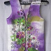 Одежда ручной работы. Ярмарка Мастеров - ручная работа жилет цветочный узор 44-46. Handmade.