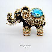 """Украшения ручной работы. Ярмарка Мастеров - ручная работа Брошь Индийский Слон """"Раджа"""", талисман, вышивка золотом. Handmade."""
