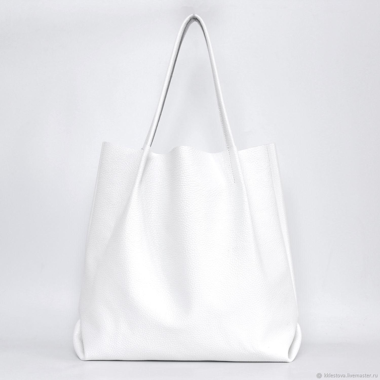 Shopper Bag Leather White Shoulder Bag Bag Bag, Shopper, Moscow,  Фото №1