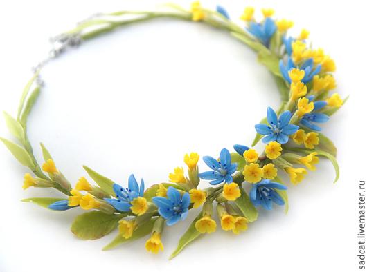 """Колье, бусы ручной работы. Ярмарка Мастеров - ручная работа. Купить Колье """"первоцветы"""". Handmade. Голубой, цветы из полимерной глины"""