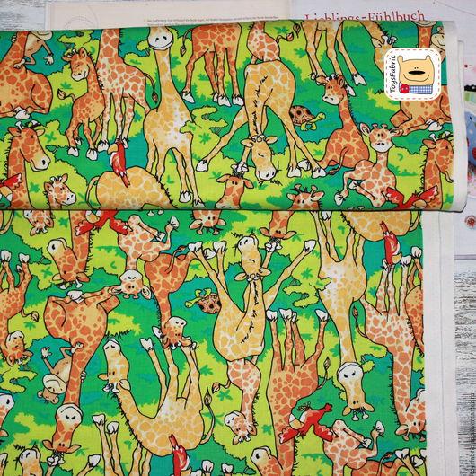 Шитье ручной работы. Ярмарка Мастеров - ручная работа. Купить Ткань американский хлопок для пэчворка Жирафы (20450). Handmade.