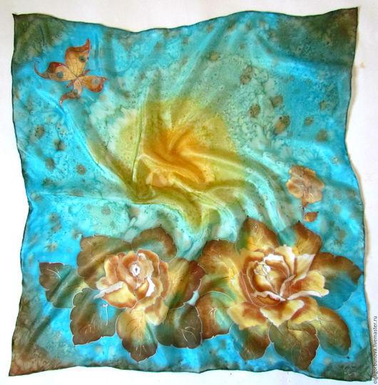 """Шали, палантины ручной работы. Ярмарка Мастеров - ручная работа. Купить Батик шейный платок """"Розы винтаж 2"""". Handmade."""