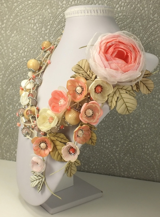 Комплекты украшений ручной работы. Ярмарка Мастеров - ручная работа. Купить Сахарно - Розовый Этюд. Колье, брошь, цветы. Handmade.