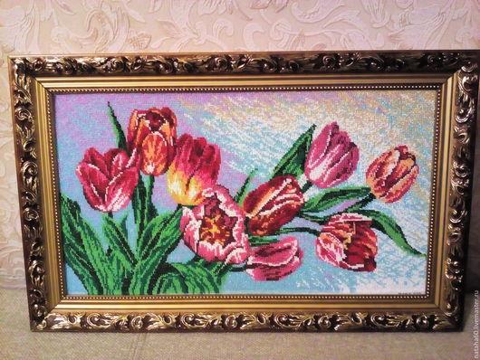 Картины цветов ручной работы. Ярмарка Мастеров - ручная работа. Купить Тюльпаны. Handmade. Комбинированный, картина для интерьера, бисер