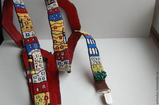"""Пояса, ремни ручной работы. Ярмарка Мастеров - ручная работа. Купить Подтяжки """"Hundertwasser town"""". Handmade. Разноцветный, стильный аксессуар"""