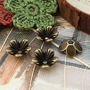Материалы для творчества handmade. Livemaster - original item 10 PCs. Beanie Flowers 9h3 mm bronze (art. 3272). Handmade.